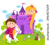 beautiful princess with long... | Shutterstock .eps vector #396407659