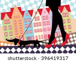 woman in red shoes walking with ... | Shutterstock .eps vector #396419317