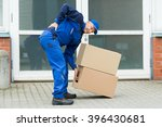 delivery man suffering from... | Shutterstock . vector #396430681