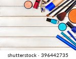 top view of make up set with...   Shutterstock . vector #396442735