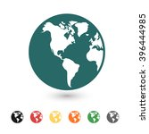 set of  blue earth vector icon