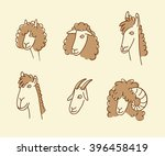 wool animals icons. outlined... | Shutterstock .eps vector #396458419