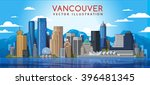 Stock vector  vancouver city skyline canada vector illustration 396481345