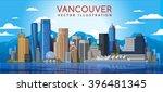 vancouver city skyline. canada.... | Shutterstock .eps vector #396481345