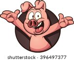 cartoon pig coming out of a... | Shutterstock .eps vector #396497377