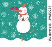 happy cartoon snowman | Shutterstock .eps vector #39650239