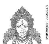 indian hindi goddess kali.... | Shutterstock .eps vector #396503371