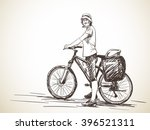 sketch of woman with bicycle ... | Shutterstock .eps vector #396521311