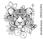 hand drawn ink doodle tiger ... | Shutterstock .eps vector #396521941