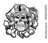 pirate skull in a bandana and a ... | Shutterstock .eps vector #396523351