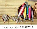 colorful thai silk tube on... | Shutterstock . vector #396527311