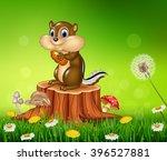 Happy Little Chipmunk Holding...