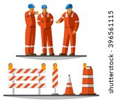 road construction workers group ... | Shutterstock .eps vector #396561115