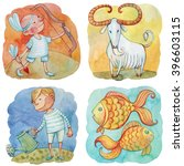 zodiac icons. set. watercolor.... | Shutterstock . vector #396603115