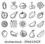 black and white vegetables and... | Shutterstock .eps vector #396613429