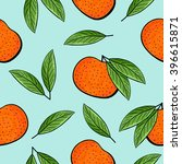 seamless tangerines and green... | Shutterstock .eps vector #396615871