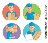 smiling delivery guy | Shutterstock .eps vector #396616654
