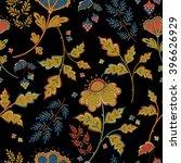 Retro Stylized Flower Pattern...