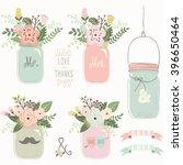 Vintage Floral Mason Jar