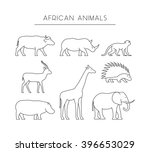 line set of african animals.... | Shutterstock . vector #396653029