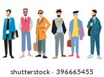 beautiful young men in fashion... | Shutterstock .eps vector #396665455