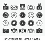 Camera shutter, lenses and photo camera icons set
