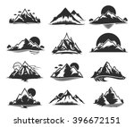 vector mountains icons... | Shutterstock .eps vector #396672151