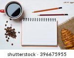 coffee break with snack | Shutterstock . vector #396675955
