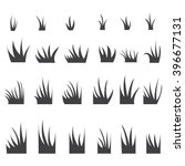 silhouettes of grass tufts. | Shutterstock .eps vector #396677131