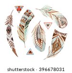 Watercolor Tribal Feather Set...