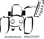 tractor color and black and... | Shutterstock .eps vector #396679297