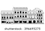 black abstract old buildings... | Shutterstock . vector #396695275