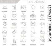 thin line restaurant vector...