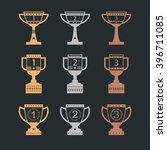 set of trophy cup. collection... | Shutterstock .eps vector #396711085