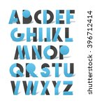 retro font in blue and grey.... | Shutterstock . vector #396712414