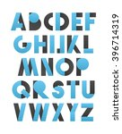 retro font in blue and grey.... | Shutterstock . vector #396714319