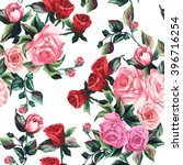spring pattern with big roses... | Shutterstock .eps vector #396716254