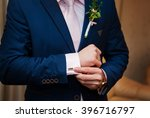 hands of wedding groom in a... | Shutterstock . vector #396716797
