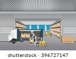 vector of forklift working with ... | Shutterstock .eps vector #396727147