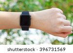 female hand with smart watch in ... | Shutterstock . vector #396731569