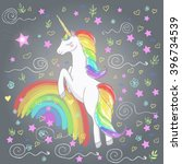 vector card with cute unicorn ... | Shutterstock .eps vector #396734539