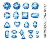 set of flat style blue jewels.... | Shutterstock .eps vector #396742057