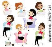 woman working on her laptop...   Shutterstock .eps vector #396754264