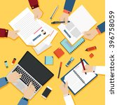 resume concept.top view on... | Shutterstock .eps vector #396758059