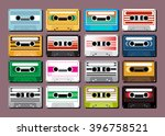 collection of retro colored... | Shutterstock .eps vector #396758521