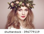 beautiful blonde woman with... | Shutterstock . vector #396779119