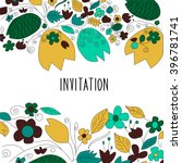hand drawn flowers and leaves... | Shutterstock .eps vector #396781741
