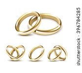 vector set of gold wedding... | Shutterstock .eps vector #396784285