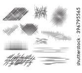 set pencil strokes  halftone ... | Shutterstock .eps vector #396795565