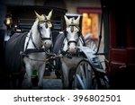 Pair Of White Horses And Retro...